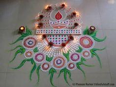 Diwali special beautiful and unique diya rangoli design | Innovative rangoli by Poonam Borkar - YouTube
