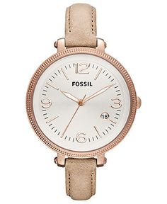 Fossil Watch, Women's Heather Tan Leather Strap 42mm ES3133 - All Watches - Jewelry & Watches - Macy's