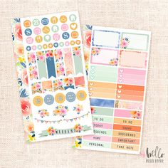 Sunset Garden  Personal planner sticker kit by HelloPetitePaper