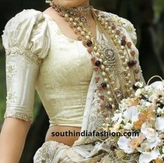 Aren't Pattu sarees and puff sleeve blouses a match made in heaven? Try these dramatic puff sleeve blouses for pattu sarees now! Saree Jacket Designs, Pattu Saree Blouse Designs, Choli Designs, Pattern Blouses For Sarees, Sari Blouse, Designer Saree Blouses, Indian Blouse, Salwar Designs, Silk Blouses