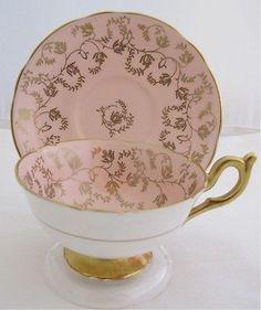 Vintage Coalport Bone China England, Numbered Tea Cup and Saucer Pink Gold