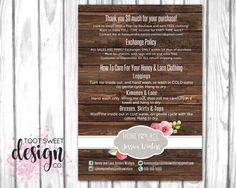 Honey and Lace Care Card, Consultant Post Card, Enclosure Policy, Wash Instructions, Exchange Policy, Honey & Lace Custom Personalized mailer flyer, best rustic wood shabby chic design by TootSweetDesignCo on Etsy