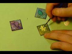 """Layered Paper Inchies"" - Dana Lynn Driscoll Demo using Crescent ATCs - Mixed Media Inchies"
