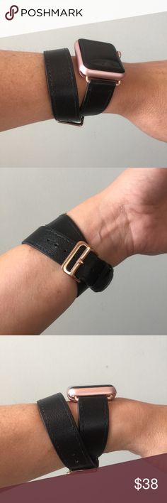 Black Apple Watch double tour band with ROSE GOLD! Black Apple Watch double tour band with ROSE GOLD adapters and buckle. It comes with either 38mm or 42mm adapters. Please select your size when you purchase. I have other styles, band colors and hardware colors. Please check out my closet. I also have others I haven't posted so feel free to send me a message if you are looking for something in particular. This listing is for the band only. It does not include the watch. Other