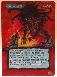 MTG Altered Art Force of Will Collectors Edition Hand Painted Full Art OOAK Card #WizardsoftheCoast  Love Altering The Force of Will~