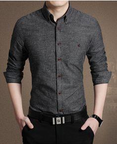 5c86382c55d New Spring Autumn solid color cotton men shirt slim fit chemise homme long  sleeve business casual shirt men (Mainland))