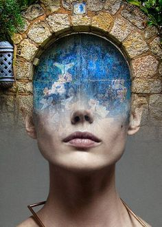 Blue door by Antonio Mora Creative Portraits, Creative Photography, Creative Art, Art Photography, Photoshop, Double Exposure Photography, Multiple Exposure, Magritte, Surreal Art