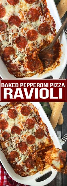 Baked Pepperoni Pizza Ravioli - Mother Thyme Kid-approved Baked Pepperoni Pizza Ravioli smothered in pizza sauce and topped with shredded mozzarella cheese, and of course pepperoni! Ravioli Casserole, Ravioli Bake, Cheese Ravioli, Pizza Casserole, Casserole Recipes, Skillet Recipes, One Pot Meals, Easy Meals, Mushroom Pizza Recipes