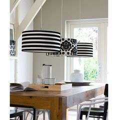 Black and White Hanging Lamps with table to be put in between kitchen and living room - Drum Shade Chandelier, Modern Chandelier, Chandeliers, Interior Exterior, Interior Design, Black And White Interior, Black White, Luminaire Design, Lamp Shades