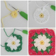 """""""As promised, here's a pattern for a delightfully easy daisy motif.  UK terms  Round 1: Start with a magic circle and 8dc into loop. Slip stitch into first…"""""""
