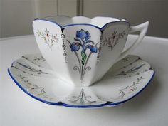 SHELLEY Blue Iris Queen Anne Cabinet Tea Cup & Saucer - Art Deco