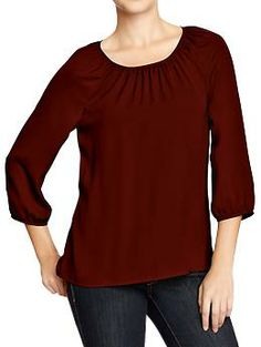 Women's Shirred-Neck Crepe Blouses | Old Navy