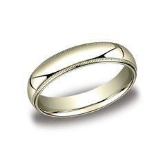 Regular Milgrain 5mm Comfort fit Wedding Band In 14K Yellow Gold LCF350YG-IBMD