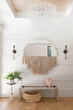 berwick entry // hanging fringe mirror // woven black and white bench // california cool // neutrals