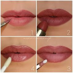 Ombre lips step by step ♥ Beauty Hacks Lips, Ombre Lips, Beauty Soap, Cream Concealer, How To Apply Lipstick, Terracota, Moisturizer With Spf, Lip Brush, Natural Beauty Tips