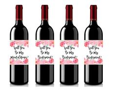 Set of 4 Wine Bottle Labels  Will You Be My Bridesmaid  Will You Be My Maid of Honor  Wine Labels Bridesmaid Gifts  Maid of Honor Gift *** For more information, visit image link.