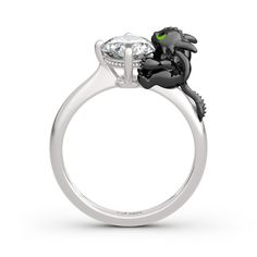 """Jeulia Hug Me """"Your Dragon"""" Round Cut Sterling Silver Ring - Jeulia Jewelry Silver Rings Online, 1 Carat, Necklace Lengths, Natural Gemstones, Cool Things To Buy, Sterling Silver Rings, Bling, Engagement Rings, Diamond"""