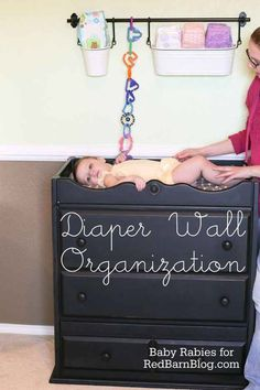 Above the baby's  Changing table