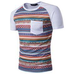Mens National Style Printing Front Pocket Short Sleeve O-neck Casual T-shirt
