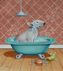 Bull Terrier Art - Rosie in the Bliss Bubbles by Cynthia House