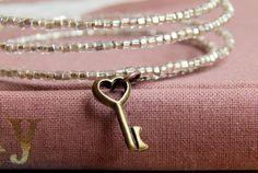 Skeleton key bracelet / memory wire bracelet / by FleetwoodandCo
