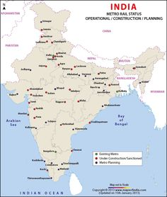 Detailed information about metro rail projects in different cities of India. Map highlights the under-construction, currently in planning and existing metro status. India World Map, India Map, India Travel, Gernal Knowledge, General Knowledge Facts, Knowledge Quotes, Metro Rail, Geography Map, The Mahabharata