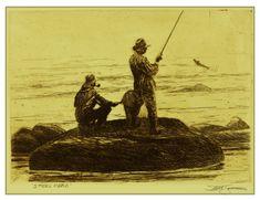Steelhead Trout fishing etching by Brett J Smith www.brettsmith.com