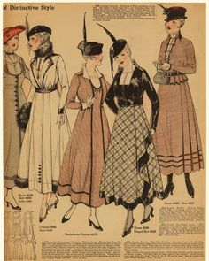 Pleated dresses and stylish overcoats in 1915