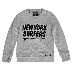 "Hank ""NY Surfers"" Sweatshirt Heather grey Finger in the nose Kids Fashion Boy, Teen Fashion, Stylish Kids, Heather Grey, Kids Outfits, Graphic Sweatshirt, Surfers, Sweatshirts, Boys"