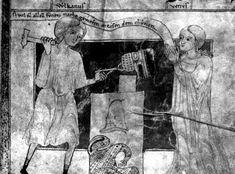 Vulcan forging a helmet, from the Aeneid of Heinrich von Waldech