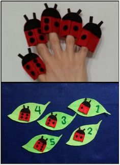 My finger puppets ladybugs to learn to count in English for the youngest kids .