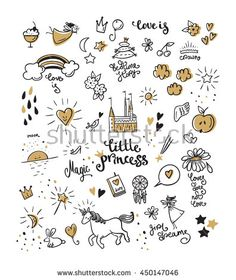 Set of doodle princess and fantasy icon and and design element for invitation and greeting card.