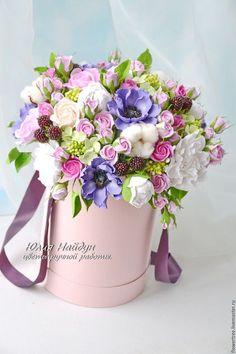 Интерьерные композиции ручной работы. Ярмарка Мастеров - ручная работа. Купить Цветы в  шляпной коробке 40 см (полимерная глина). Handmade.