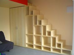 Amazing Space Saving Stairs Design in House Design Plan with Modern Storage Ideas For Small Spaces Staircase Design With Storage Stair Shelves, Staircase Storage, Attic Storage, Staircase Design, Storage Spaces, Book Storage, Staircase Bookshelf, Staircase Ideas, Garage Storage