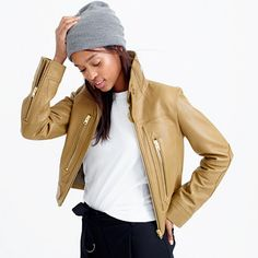 Inspired by a vintage flight jacket, this luxe pebbled leather layer comes with classic details like exposed zipper pockets, collar tabs and a faux-belted waist. Our designers spent a lot of time adjusting the seams to create a perfect not-too-loose, not-too-tight fit (so you can still wear a sweater underneath). Chances are, it will become your new signature piece. <ul><li>Cut for a classic fit—not too loose and not too tight.</li><li>Hits at hip.</li><li>Body length: 20…
