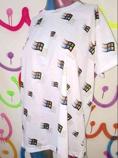 Poly blend Round neck cotton tee Oversized, loose fit All over print