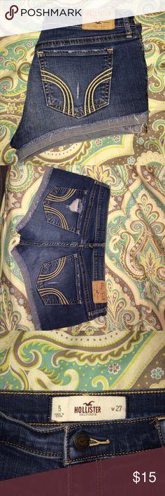 Hollister medium wash shorts Hollister short shorts, only work a few times, good condition Hollister Shorts Jean Shorts