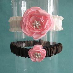 Ivory Pink and Brown Satin Wedding Garter Set I111  by HARTfeltart, $39.00