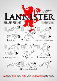 Lannister Workout | Posted by CustomWeightLossProgram.com