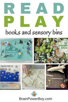 Combine books with sensory bins for a fun reading and open-ended play experience. Dinosaurs, construction, space, ocean, nature bins and more.Try these sensory bins and book combos with your kids. Preschool Learning Activities, Preschool Books, Play Based Learning, Kids Learning Activities, Motor Activities, Sensory Activities, Hands On Activities, Writing Activities, Sensory Tubs