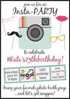 Instagram Inspired Birthday Party Invitation by 5foot12studio, $12.00