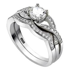 .925 Sterling Silver Wedding Ring set size 5 Engagement CZ Round Bridal New wz38 #Unbranded