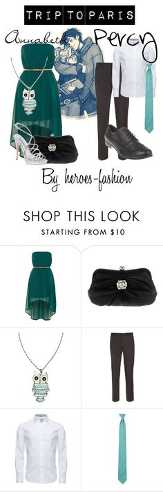 """""""Annabeth and Percy's Trip to Paris"""" by heroes-fashion ❤ liked on Polyvore featuring Glamorous, Tosca Blu, Badgley Mischka, River Island, Topman, Cerruti 1881, Hermès and Steve Madden"""