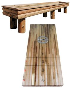 Rustic shuffleboard table.  A must!