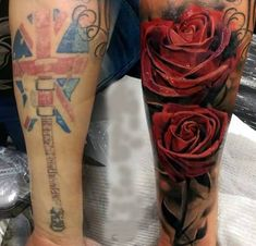 Men Lower Sleeve Cover Up With Realistic Red Rose And Amazing Flag