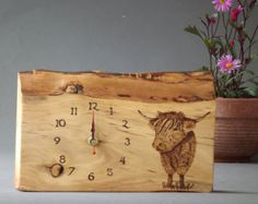 Wooden Clock, Hand made, Original drawing, Made in Scotland, Highland Cow, Pyrography, Wood burning, Unique, Wedding Gift, Birthday Gift - Edit Listing - Etsy