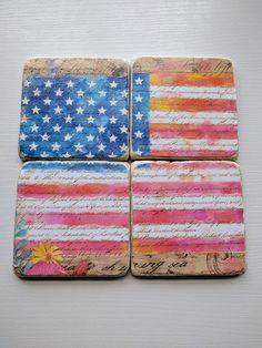 8b94c2e40ed3 USA Flag Stone Coaster Set American Flag Coasters Floral