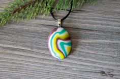 Purple, White, Teal, and Green Fused Glass Puddle Pendant with Satin Necklace; Unique Glass Treasures by UniqueGlassTreasures on Etsy