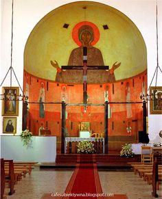Jerzy Nowosielski - sacrum full of passion. Interior of the church and chapel in Wesoła, Warsaw. Church Interior, Altars, Sacred Art, Christian Art, Architects, Saints, Religion, Contemporary, Abstract