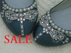 Art Deco Jewel Tone Dragonfly Ballet Flats Wedding Shoes
